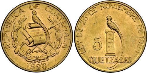5 Кетцаль Республіка Ґватемала (1838 - ) Золото