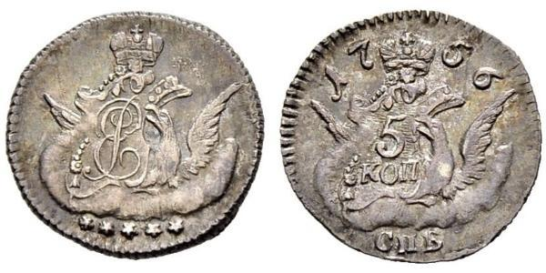 5 Копейка Российская империя (1720-1917) Серебро Елизавета  I Петровна (1709-1762)
