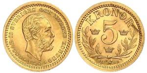 5 Крона Швеция Золото Оскар II (1829-1907)