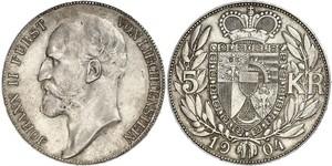 5 Крона Ліхтенштейн Срібло Johann II, Prince of Liechtenstein (1840-1929)