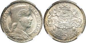 5 Лат Латвия (1991 - ) Серебро