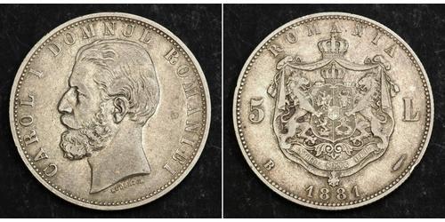 5 Лей Румунія Срібло Carol I of Romania (1839 - 1914)