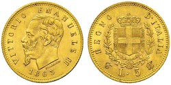 5 Лира Kingdom of Italy (1861-1946) Золото Victor Emmanuel II of Italy (1820 - 1878)