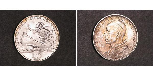 5 Лира Ватикан (1926-) Серебро Пий XII  (1876 - 1958)