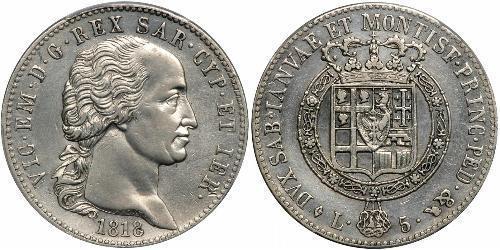 5 Лира Сардинское королевство (1324 - 1861) Серебро Виктор Эммануил I