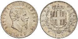 5 Лира Kingdom of Italy (1861-1946) Серебро Victor Emmanuel II of Italy (1820 - 1878)
