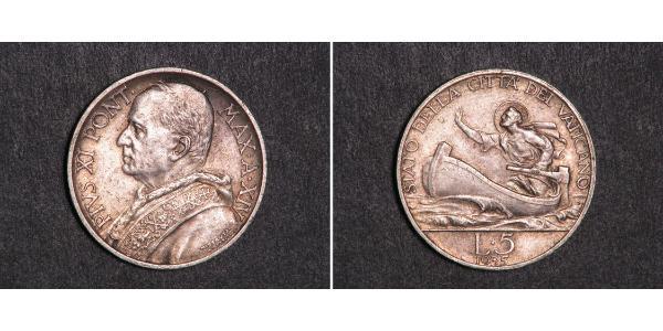 5 Ліра Ватікан (1926-) Золото Pope Pius XI (1857 - 1939)