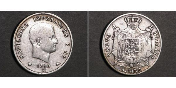 5 Ліра Королівство Італія (Наполеонівське) (1805–1814) Срібло Наполеон I Бонапарт(1769 - 1821)