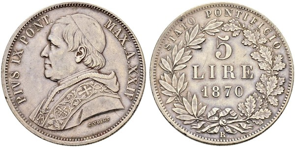 5 Ліра Папська держава (752-1870) Срібло Пій IX (1792- 1878)
