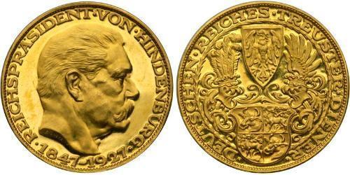 5 Марка Веймарская республика (1918-1933) Золото Гинденбург, Пауль фон