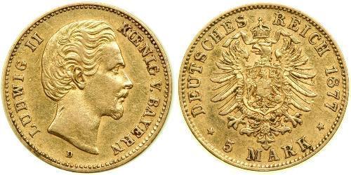 5 Марка Королевство Бавария (1806 - 1918) Золото Людвиг II (король Баварии)(1845 – 1886)