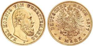 5 Марка Королевство Вюртемберг (1806-1918) Золото Карл I (король Вюртемберга)