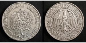 5 Марка Веймарская республика (1918-1933) / Германия Серебро