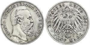 5 Марка Великое герцогство Гессен (1806 - 1918) Серебро Людвиг IV (великий герцог Гессенский)