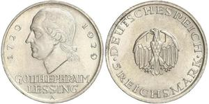 5 Марка Германская империя (1871-1918) Серебро Лессинг, Готхольд Эфраим