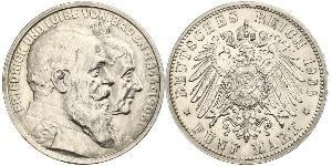 5 Марка Германская империя (1871-1918) / Великое герцогство Баден (1806-1918) Серебро Фридрих I (великий герцог Баденский) (1826 - 1907)
