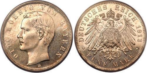 5 Марка Королевство Бавария (1806 - 1918) Серебро Отто I (король Баварии)(1848 – 1916)