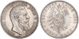 5 Марка Пруссия (королевство) (1701-1918) Серебро Фридрих III (германский император) (1831-1888)