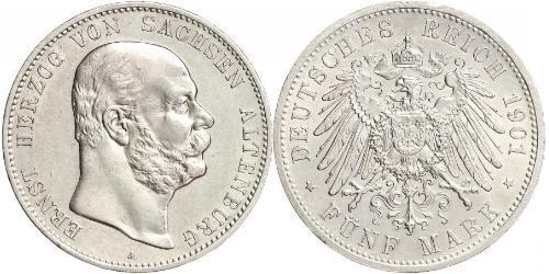 5 Марка Саксен-Альтенбург  (1826 - 1920) Серебро Эрнст I Саксен-Альтенбургский (1826 - 1908)