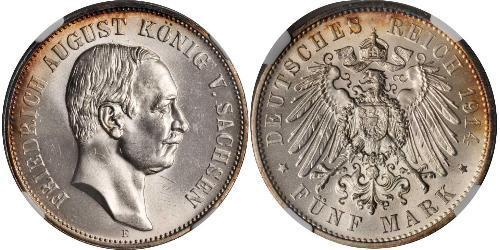 5 Марка Саксония (королевство) (1806 - 1918) Серебро Фридрих Август III (король Саксонии) (1865-1932)