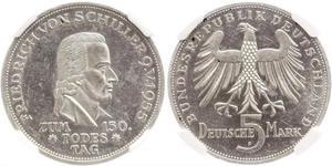 5 Марка ФРГ (1949-1990) Серебро Шиллер, Фридрих