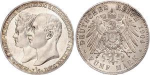 5 Марка Duchy of Mecklenburg-Schwerin (1352-1918) Серебро Frederick Francis IV, Grand Duke of Mecklenburg (1882 - 1945)