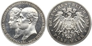 5 Марка Duchy of Mecklenburg-Schwerin (1352-1918) Серебро Frederick Francis IV, Grand Duke of Mecklenburg (1882 - 1945)