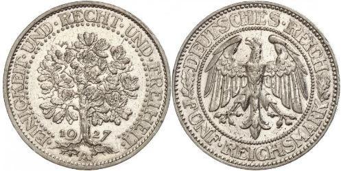 5 Марка Веймарська республіка (1918-1933) / Німеччина Срібло