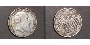 5 Марка Велике герцогство Баден (1806-1918) Срібло Frederick I, Grand Duke of Baden (1826 - 1907)