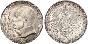 5 Марка Великое герцогство Гессен (1806 - 1918) Срібло Ernest Louis, Grand Duke of Hesse (1868 - 1937)