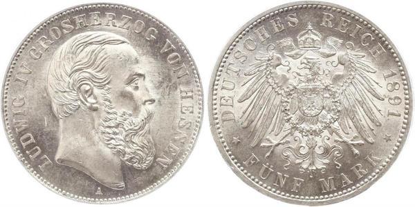 5 Марка Великое герцогство Гессен (1806 - 1918) Срібло Людвіг IV (великий герцог Гессену)