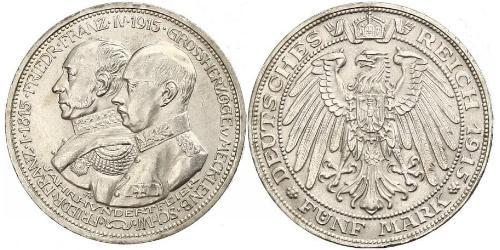 5 Марка Герцогство Мекленбург-Шверин (1352-1918) Срібло Frederick Francis IV, Grand Duke of Mecklenburg (1882 - 1945)