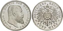 5 Марка Королівство Вюртемберг Срібло Wilhelm II, German Emperor (1859-1941)