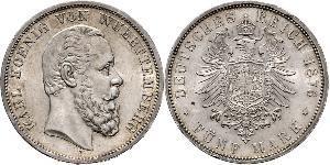 5 Марка Королівство Вюртемберг Срібло Charles I of Württemberg