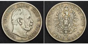 5 Марка Королівство Пруссія (1701-1918) Срібло Wilhelm I, German Emperor (1797-1888)