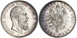 5 Марка Королівство Пруссія (1701-1918) Срібло Фрідріх III (німецький імператор) (1831-1888)