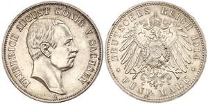 5 Марка Королівство Саксонія (1806 - 1918) Срібло Frederick Augustus III of Saxony (1865-1932)