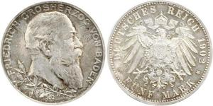 5 Марка Німецька імперія (1871-1918) / Велике герцогство Баден (1806-1918) Срібло Frederick I, Grand Duke of Baden (1826 - 1907)