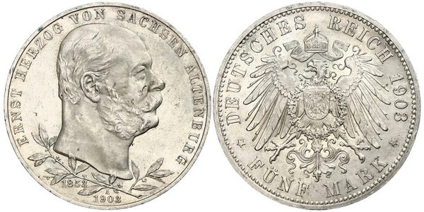 5 Марка Саксен-Альтенбург  (1826 - 1920) Срібло Ernst I, Duke of Saxe-Altenburg (1826 - 1908)