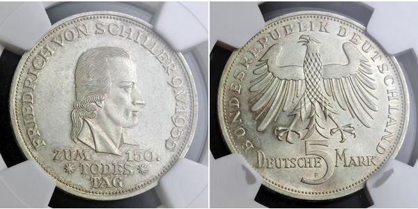 5 Марка ФРН (1949-1990) Срібло Йоганн-Фрідріх Шиллер