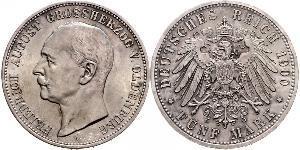 5 Марка Grand Duchy of Oldenburg (1814 - 1918) Срібло Frederick Augustus III of Saxony (1865-1932)
