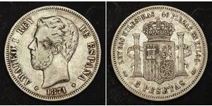 5 Песета Королевство Испания (1814 - 1873) Серебро Амадей I (король Испании)  (1845 - 1890)