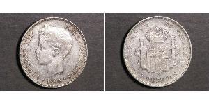 5 Песета Королевство Испания (1874 - 1931) Серебро