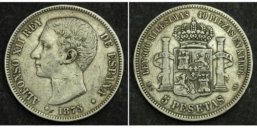 5 Песета Королевство Испания (1874 - 1931) Серебро Alfonso XII of Spain (1857 -1885)