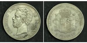 5 Песета Королівство Іспанія (1814 - 1873) Срібло Амадей I  (1845 - 1890)