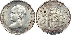 5 Песета Королівство Іспанія (1874 - 1931) Срібло Alfonso XIII of Spain (1886 - 1941)