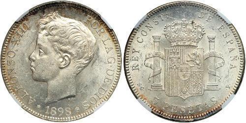 5 Песета Королівство Іспанія (1874 - 1931) Срібло