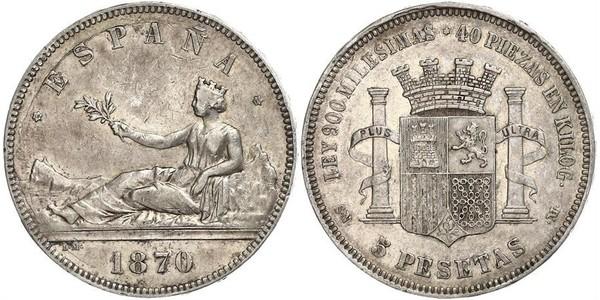 5 Песета First Spanish Republic (1873 - 1874) Срібло