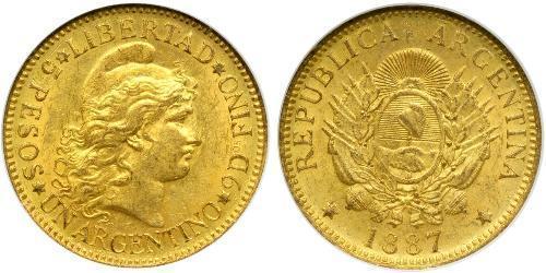 5 Песо Аргентинская Республика (1861 - ) Золото
