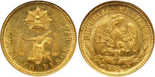 5 Песо Мексиканські Сполучені Штати (1867 - ) Золото